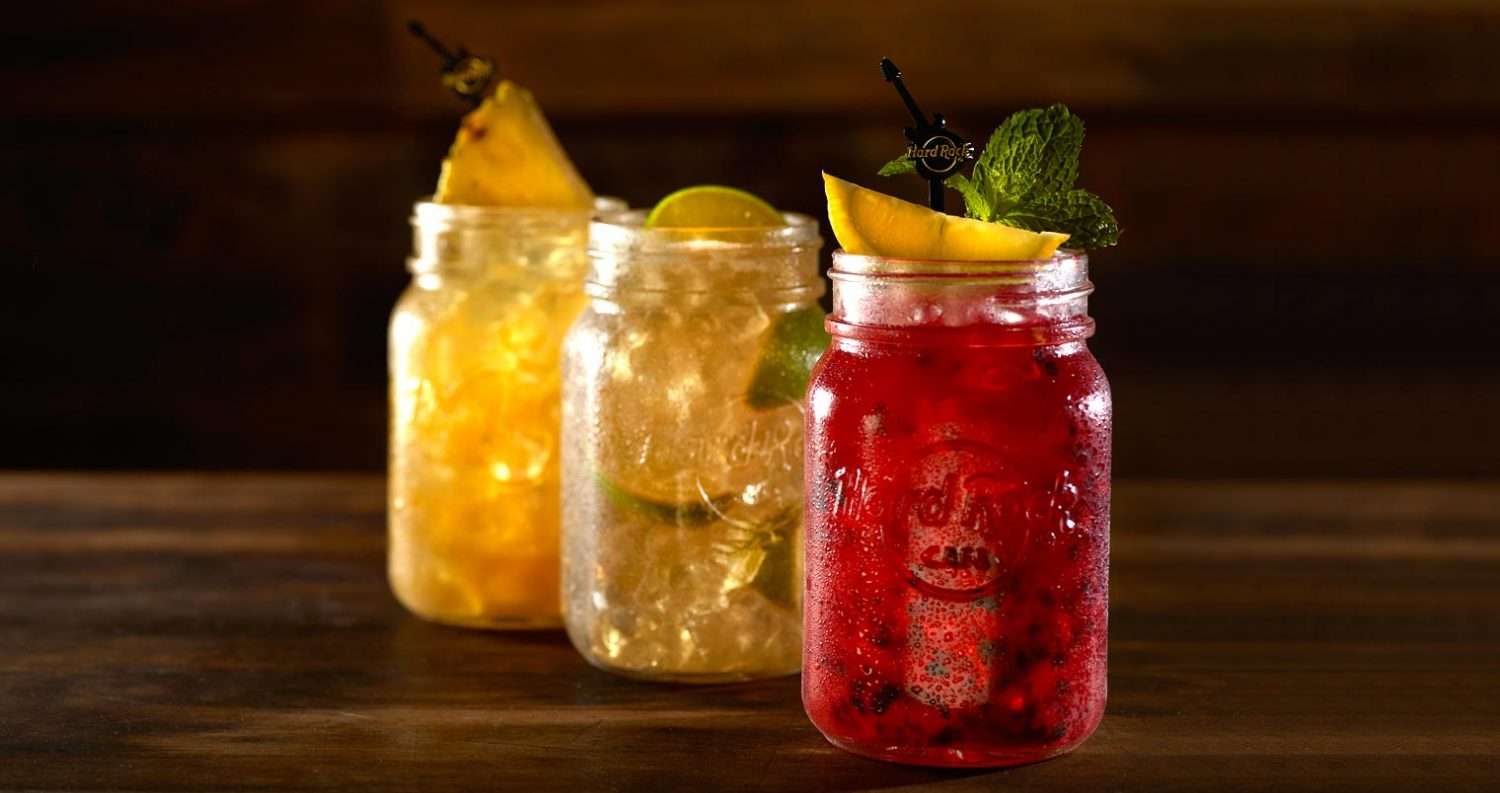 Cocktails poured in mason jars