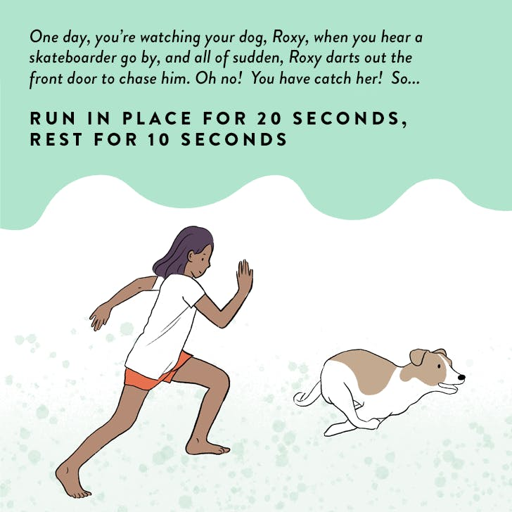 Cartoon showing a girl exercising with a dog