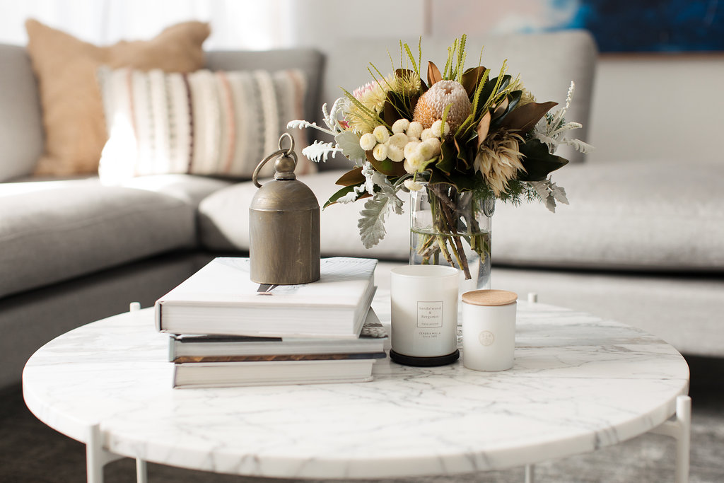 White coffee table with decorations