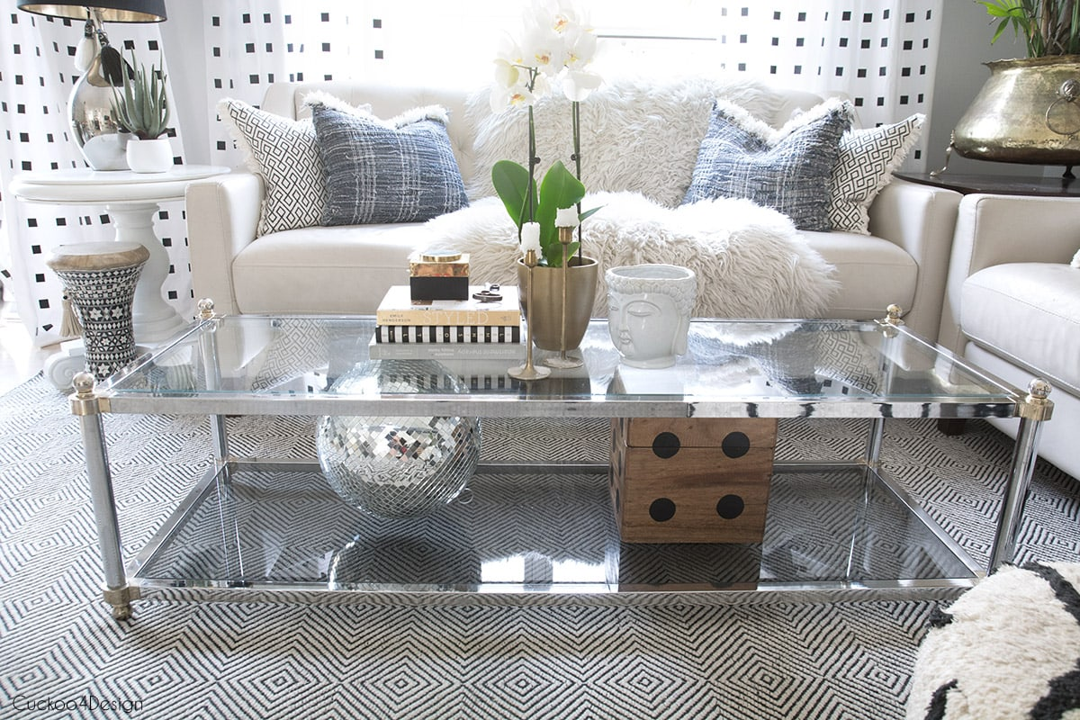 A two-tiered coffee table