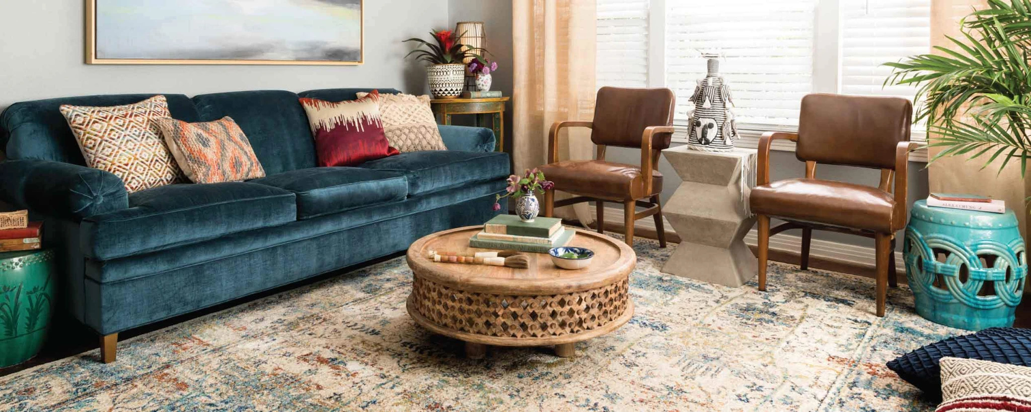 Coffee table with flowers and natural elements