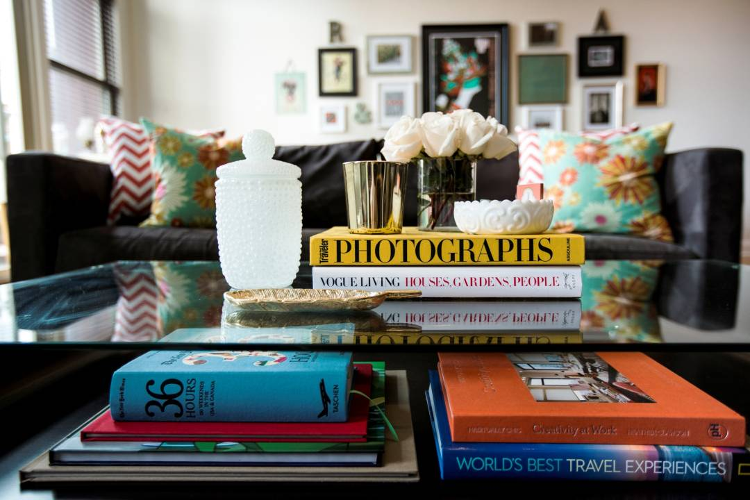 Table arranged with a collection of books