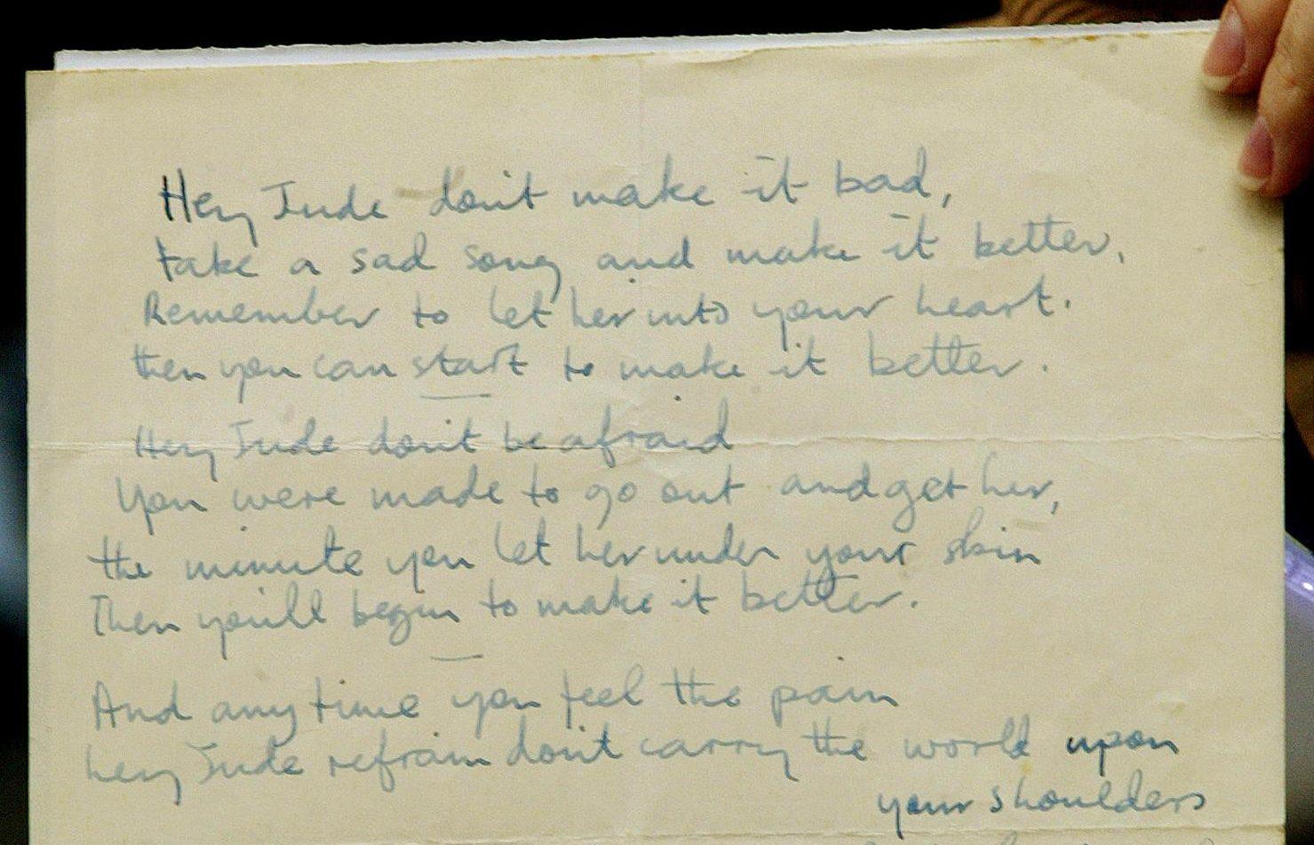 Hey Jude Handwritten lyrics