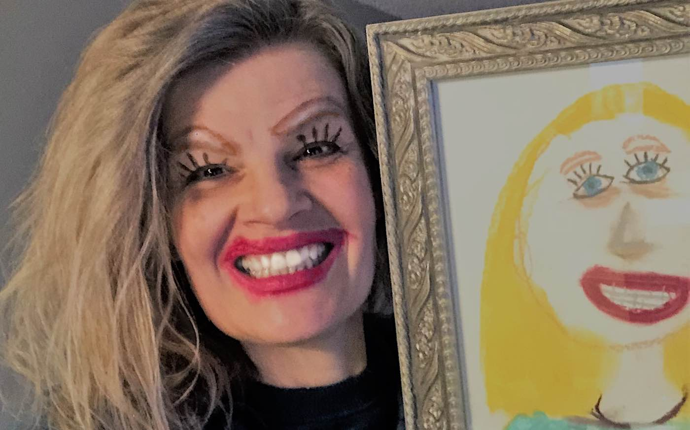 A photo of the mom's recreated look next to the original drawing for comparison