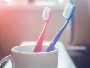 Red and Blue Toothbrush