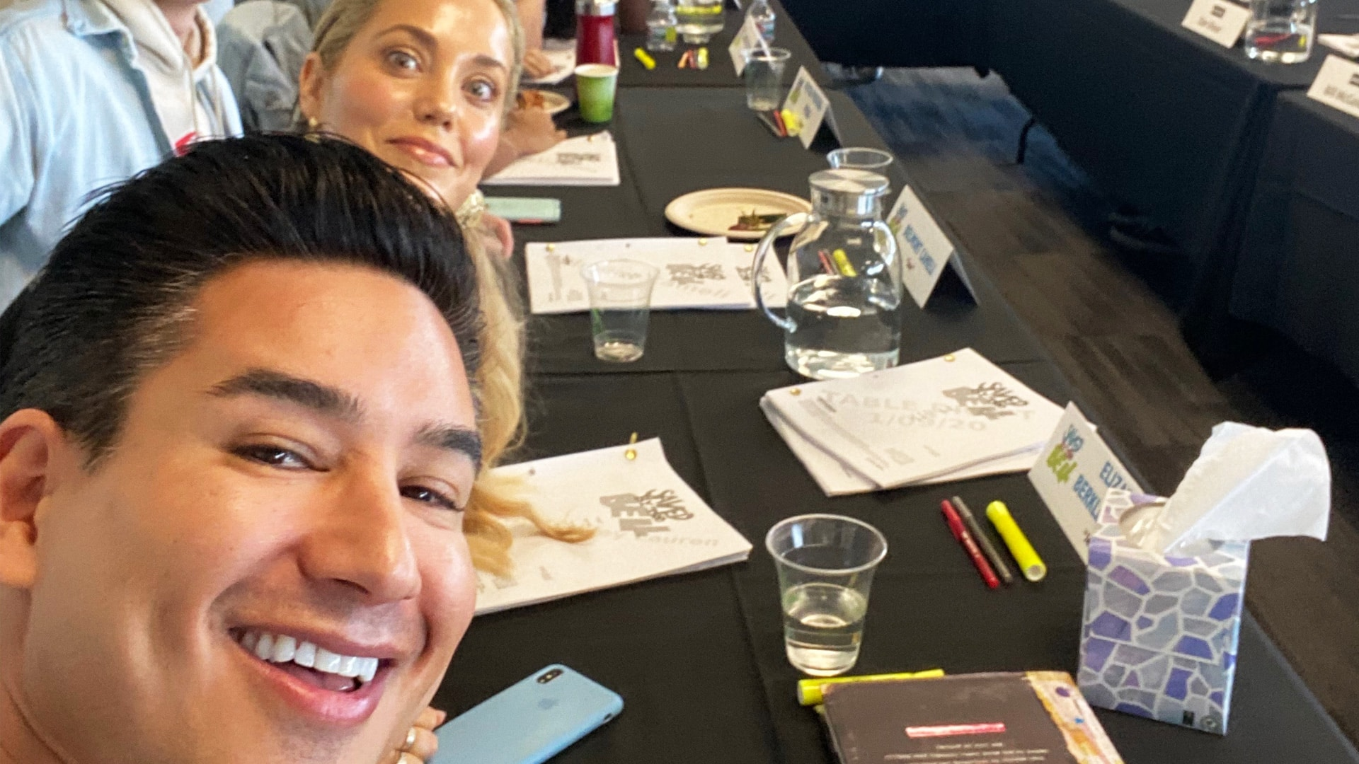 Elizabeth Berkley and Mario Lopes at the table read for the reboot of Saved by the Bell