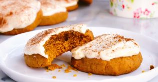 Delicious Pumpkin Cookies With Spiked Cream Cheese Frosting