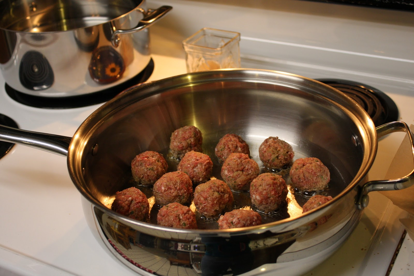 Meatballs in a deep pan