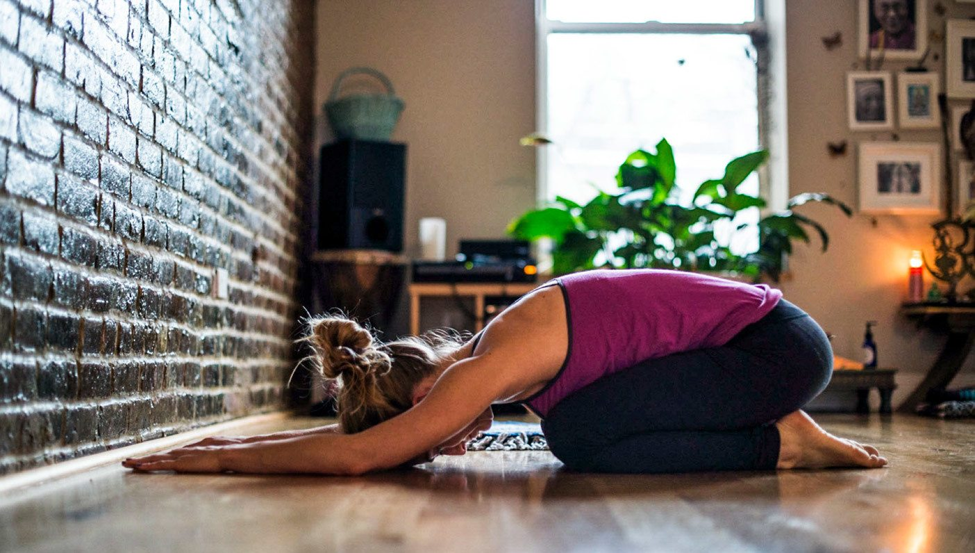 Yoga stretching at home