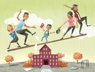 Mark Hoffer's color illustration about coparenting of child balancing on top of school in-between two sets of parents.