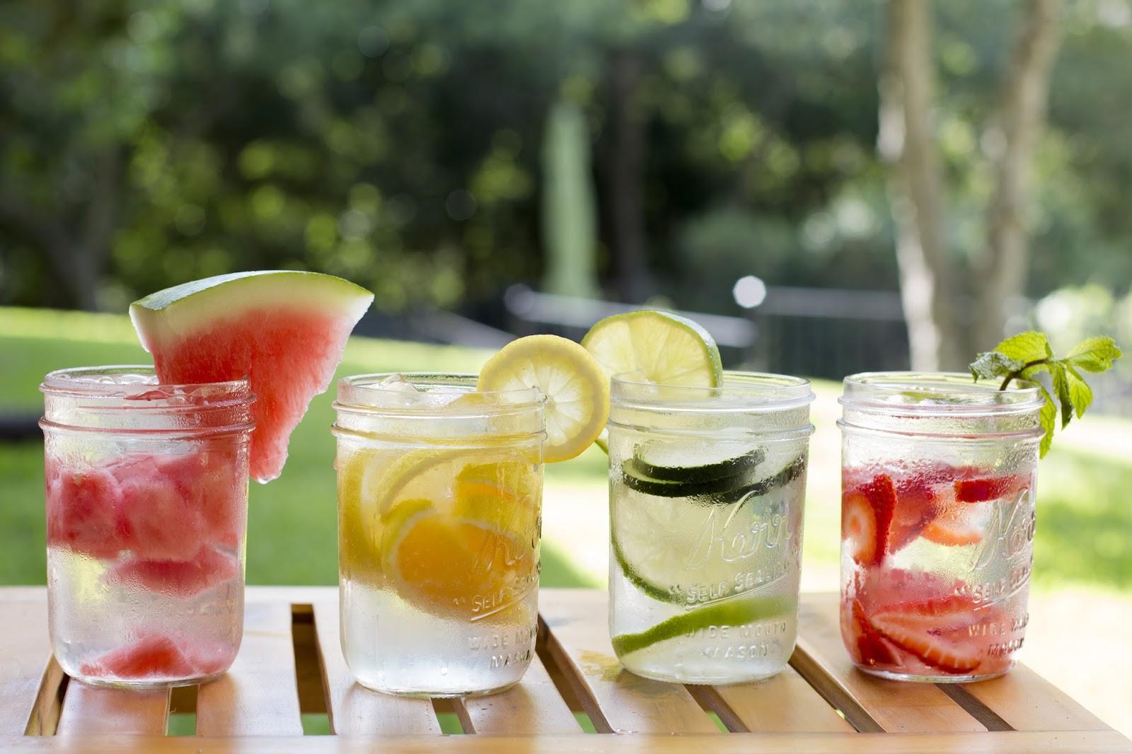 Fruit pieces in water jars