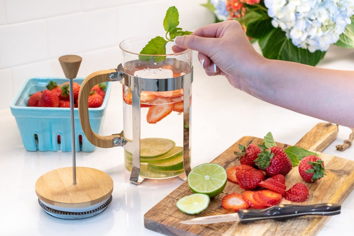 French pressing infused water