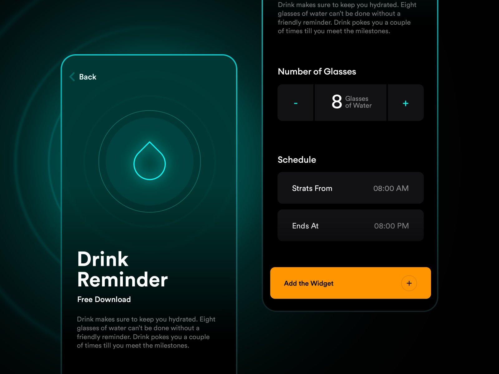 Water-drinking app reminder