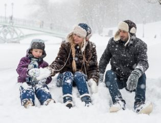 Family spending quality time outside during winter
