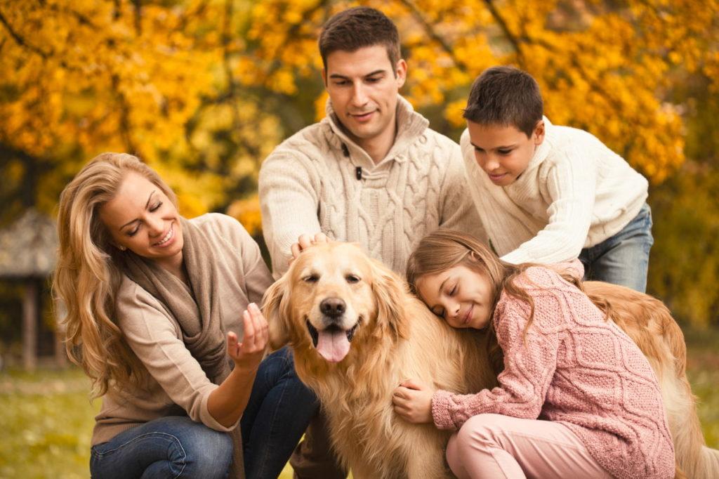 A family enjoying their Golden Retriever dog