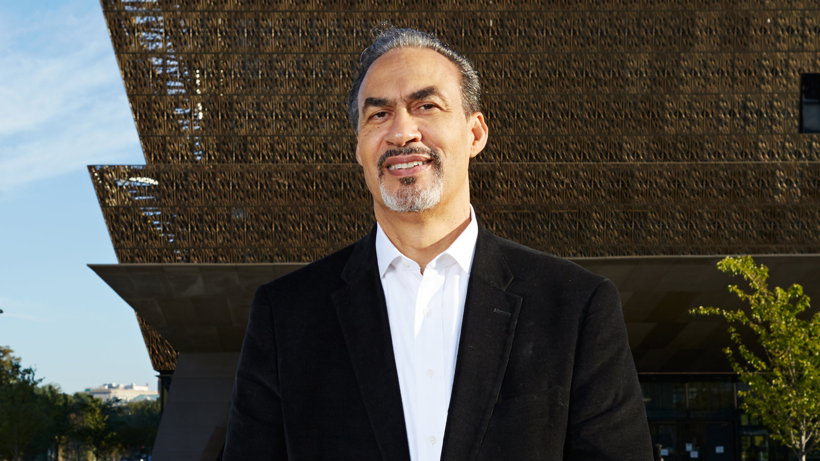 Architect Phillip Freelon in front of the Smithsonian National Museum of African American History, in DC.