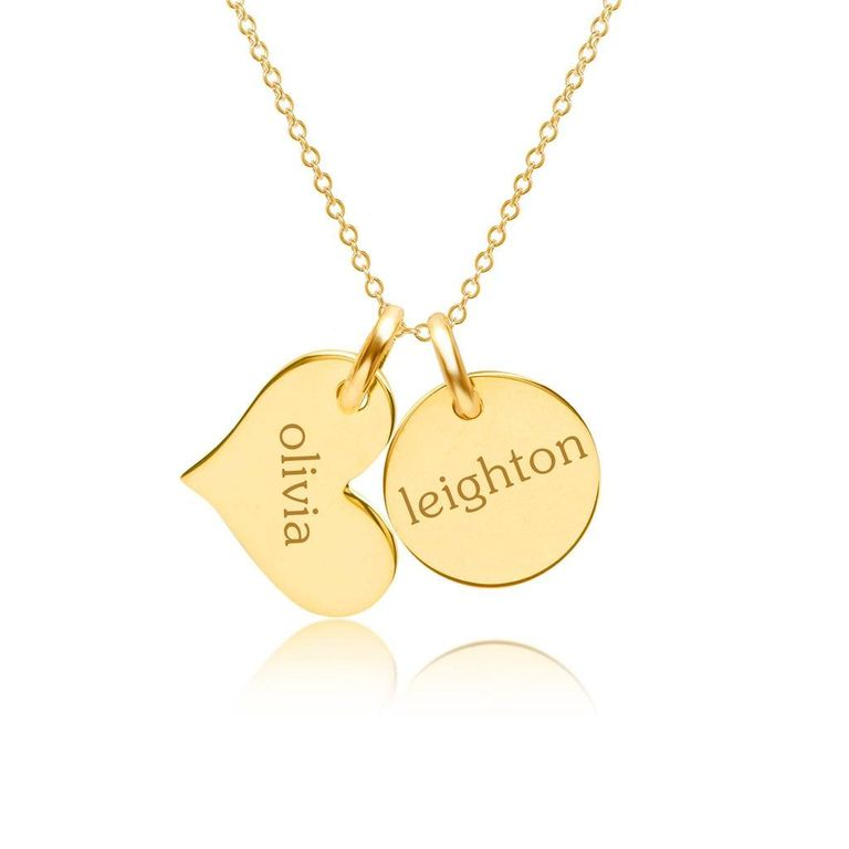 Gold Circle and Heart Necklace