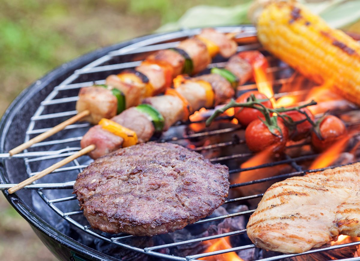 Cooking Skewers on a Grill