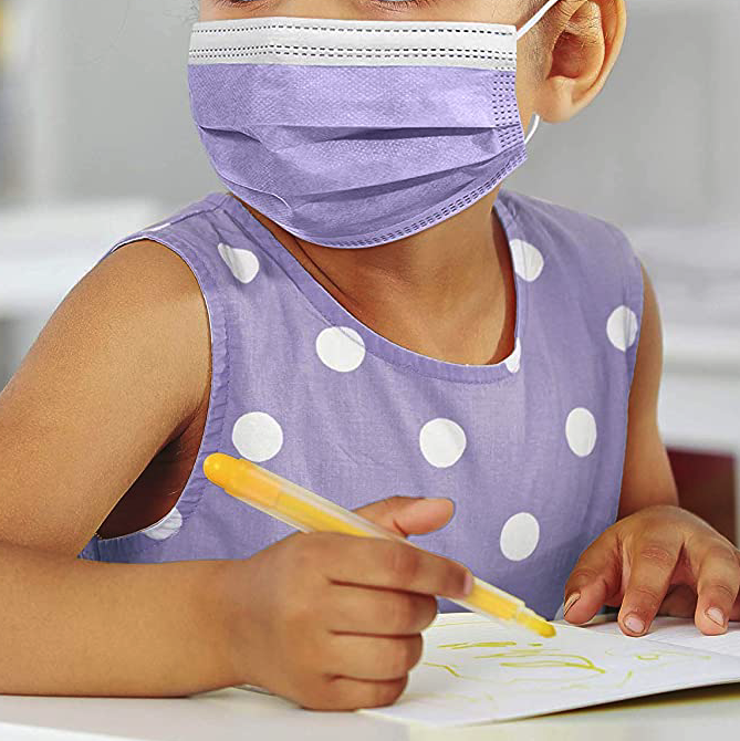 3-Layer Disposable Kids' Face Mask, 50-Pack, Best Value Face Mask for Kids with Glasses