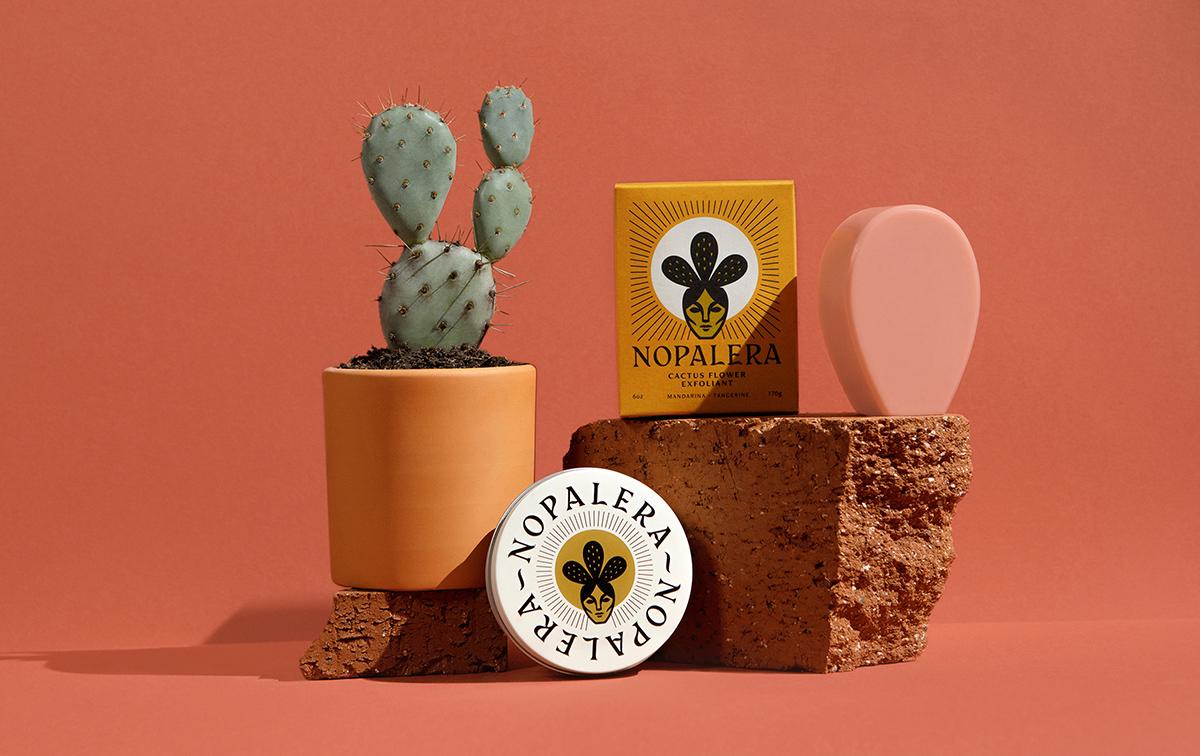 Nopalera's Cactus Flower Exfoliant (on top of the brick) and Nopalera's Moisturizing Botanical Bar