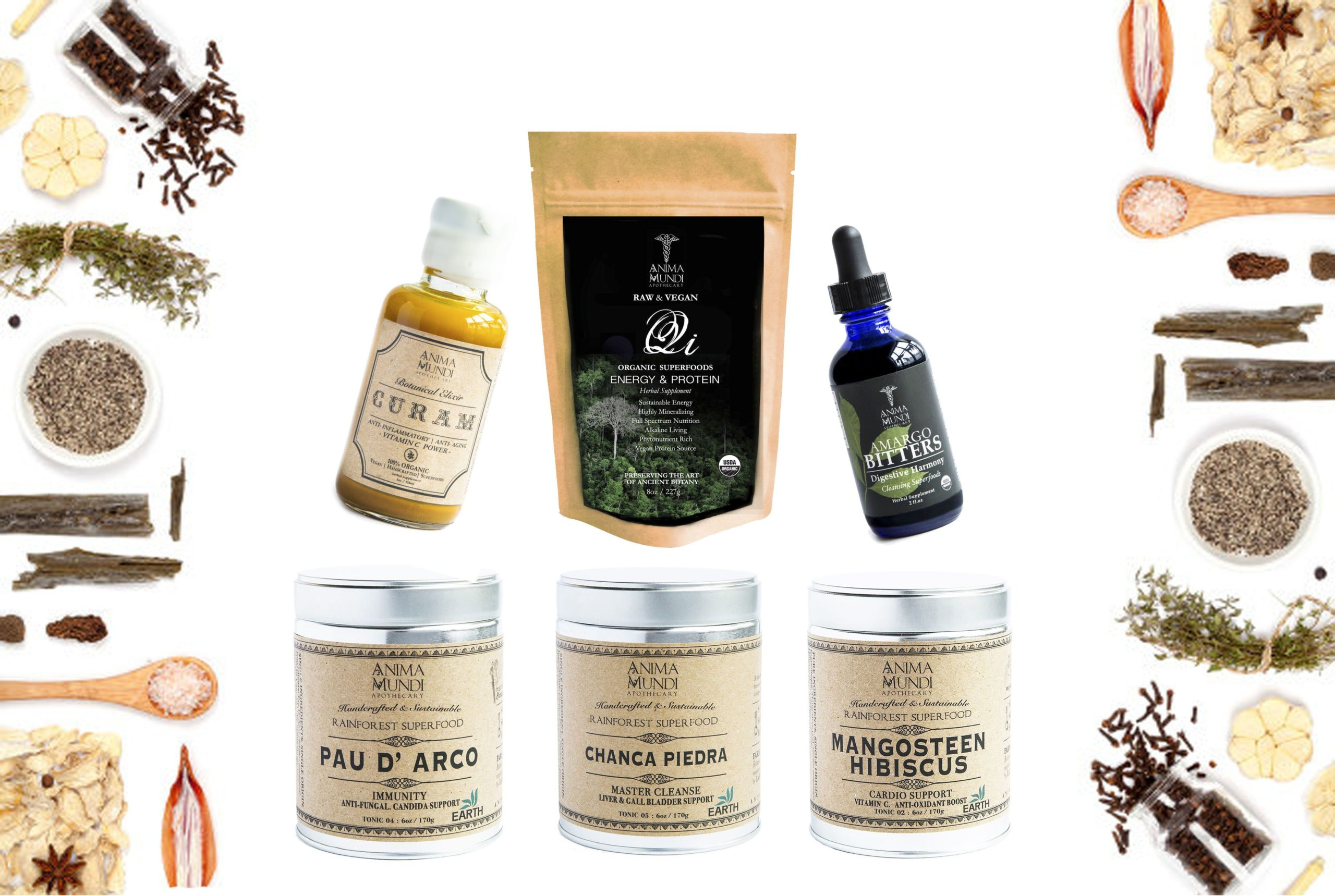Some of the different products offered by Anima Mundi Apothecary.