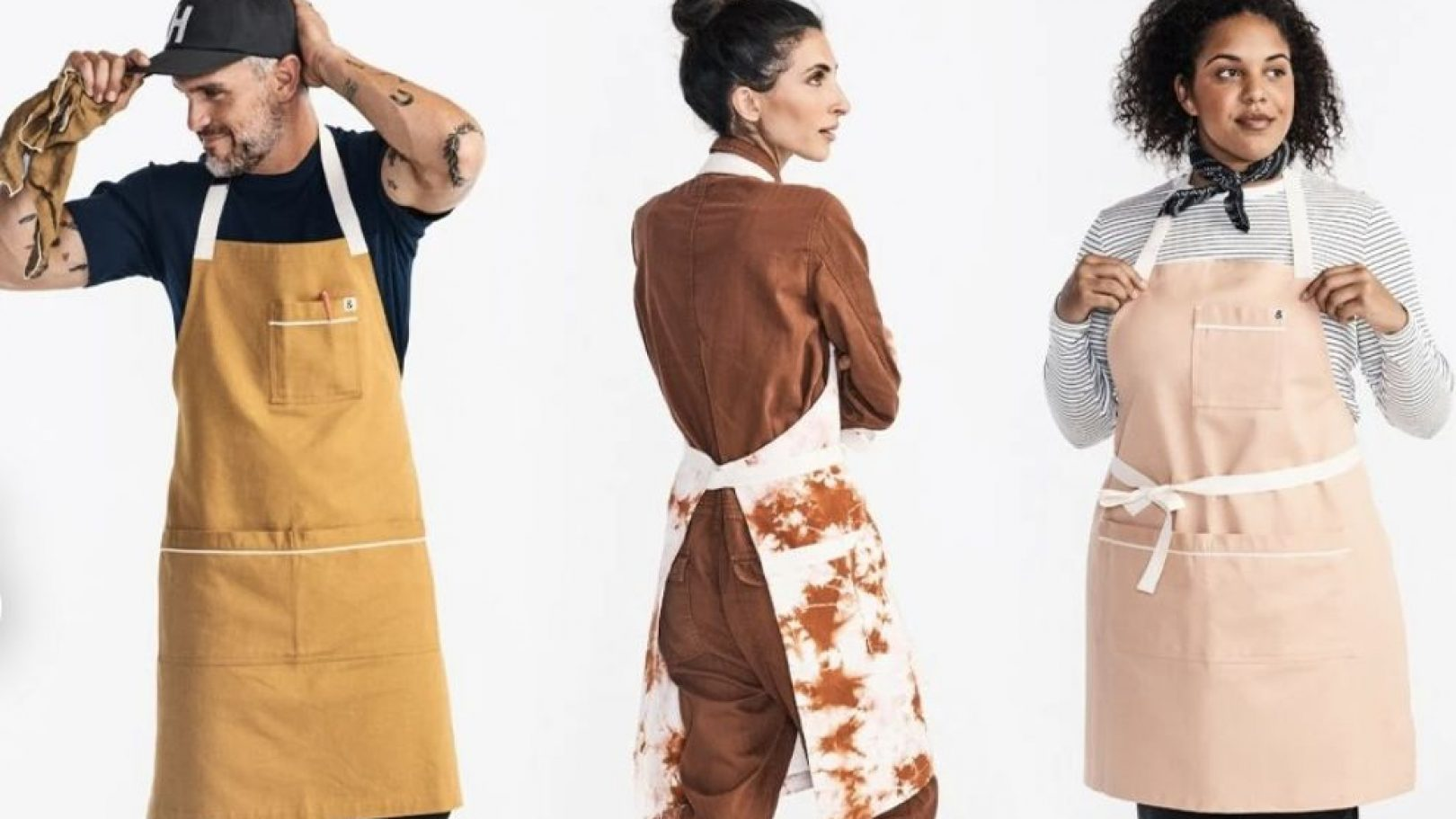 Three of the different types of aprons made by Hedley & Bennett for both professional and amateur cooks.